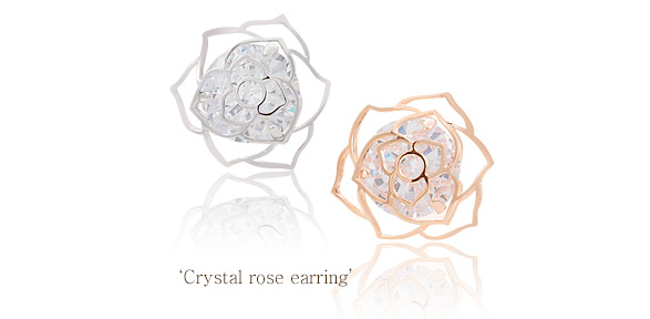 [ 4xtyle ] Crystal Rose Earring, 3 Color