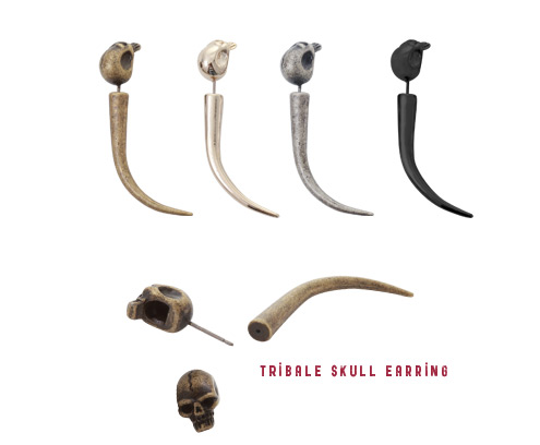 [ 4xtyle ] Tribale Skull Earring, 4 Colors
