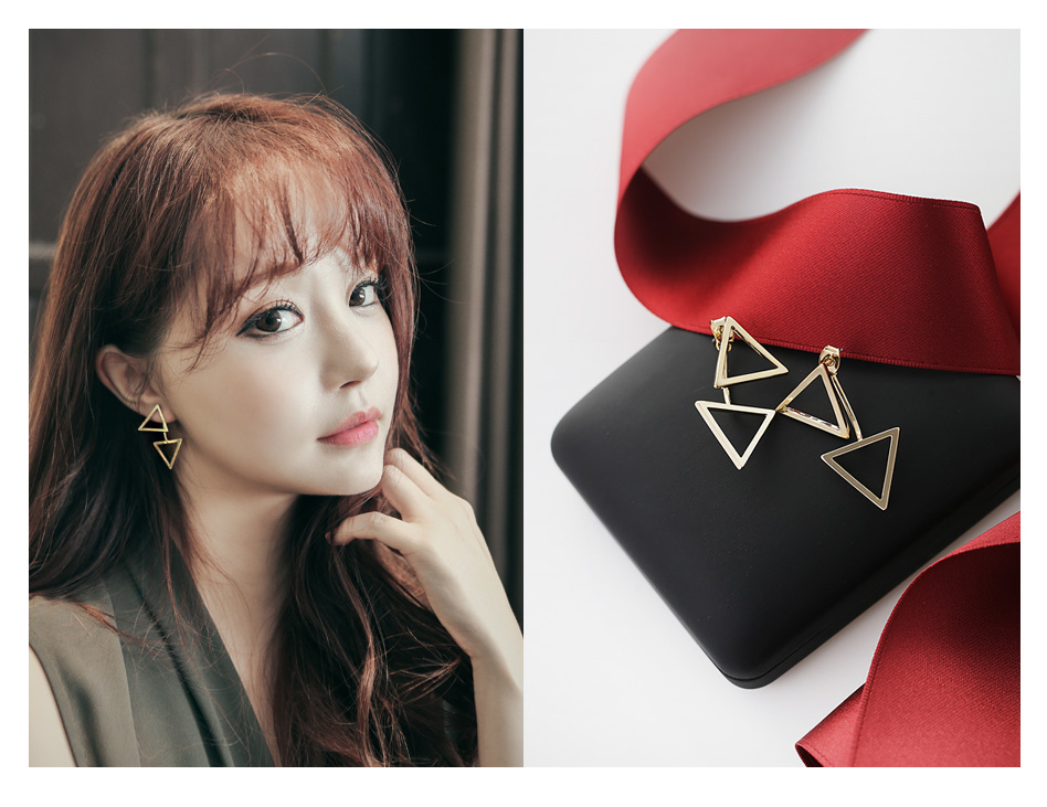 [ 4xtyle ] Double Triangle Twoway Earring, 4 Colors