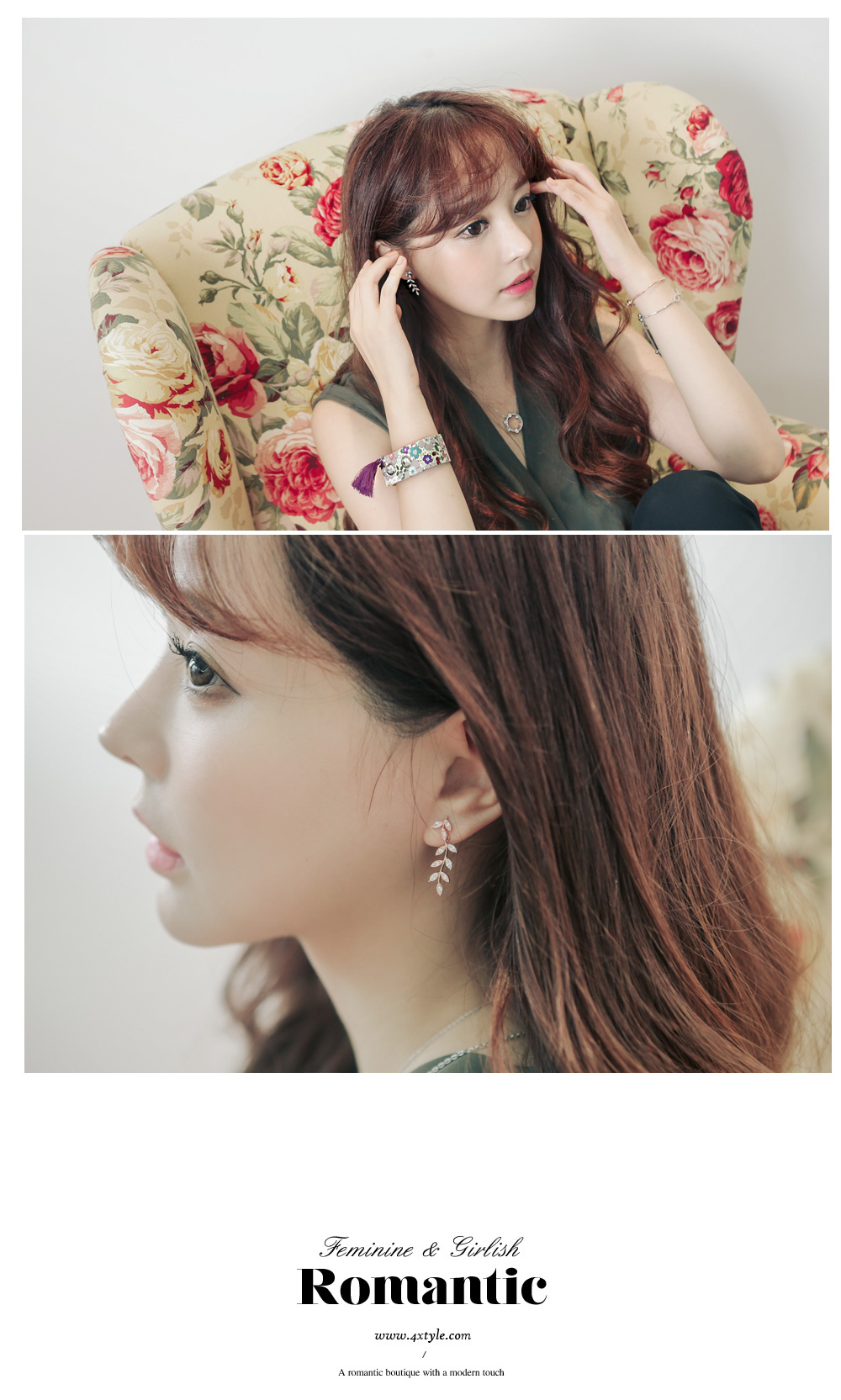 [ 4xtyle ] [SILVER] LEAF MELO EARRING (ROSEGOLD)