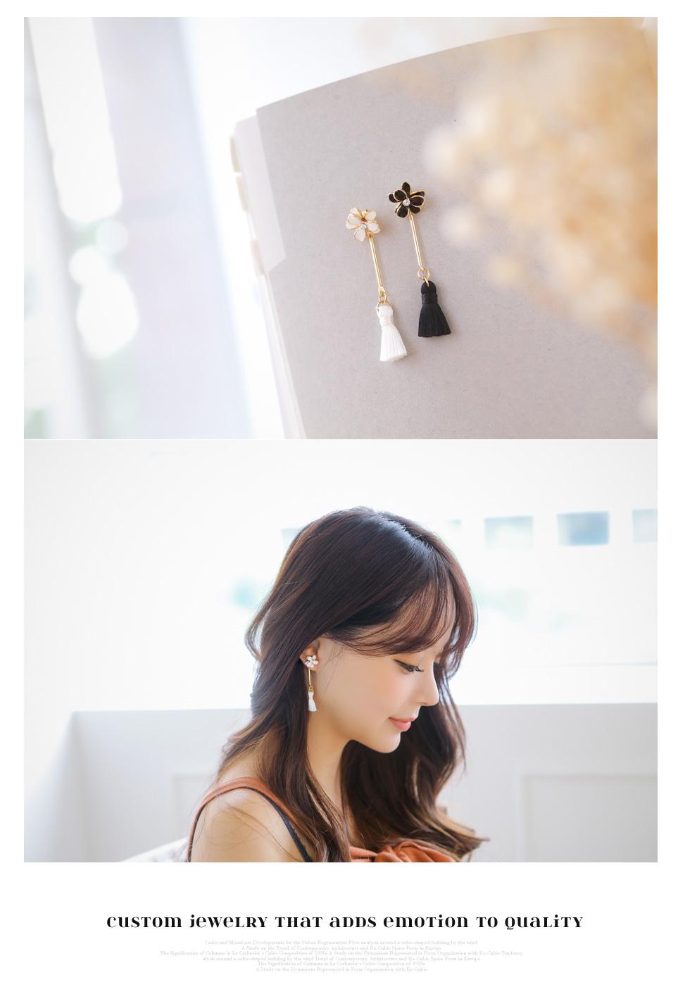[ 4xtyle ] Long Iris Tassel Earring, 2 Colors