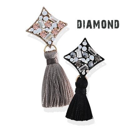 [ 4xtyle ] Diamond Tassel Earring, 2 Colors