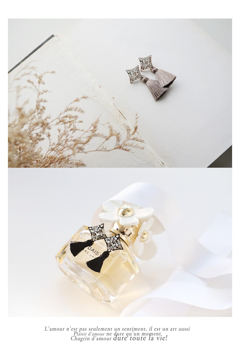 [ 4xtyle ] 钻石Tassel耳环、2种颜色