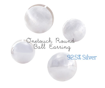 [ 4xtyle ] [SILVER] ONE TOUCH ROUND BALL EARRING (LARGE)