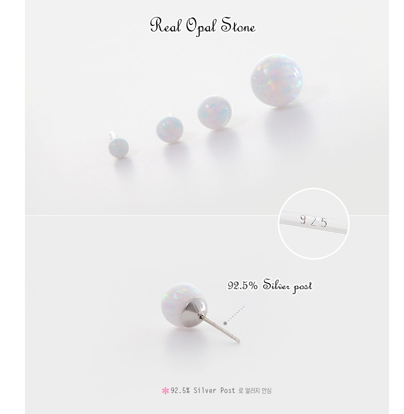 [ 4xtyle ] [SILVER] OPAL SHADOW EARRING (8MM)