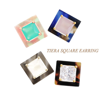 [ 4xtyle ] Tiera Square Earring, 4 Colors