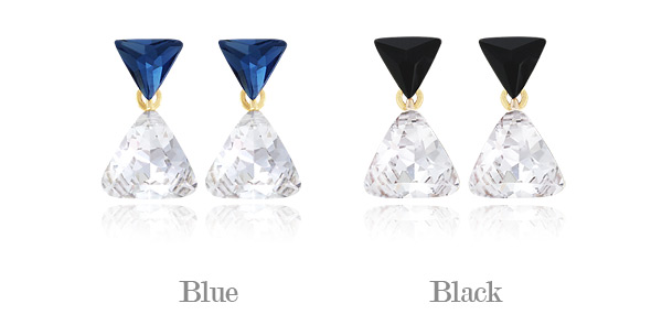[ 4xtyle ] Swarovski Triangle Earring, 2 Colors