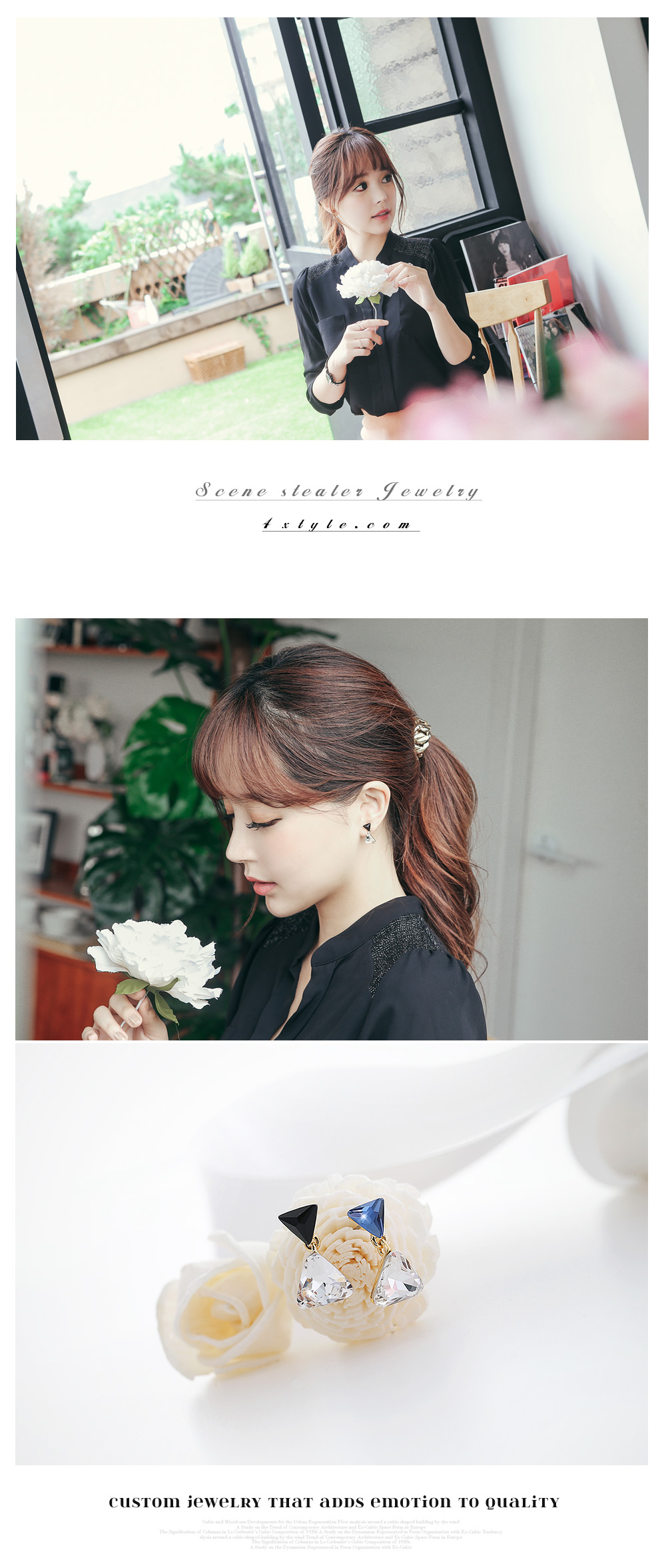 [ 4xtyle ] Swarovski Triangle Earring, 2 Colors