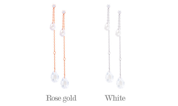 [ 4xtyle ] Updown Tear Crystal Silver Earring, 2 Colors