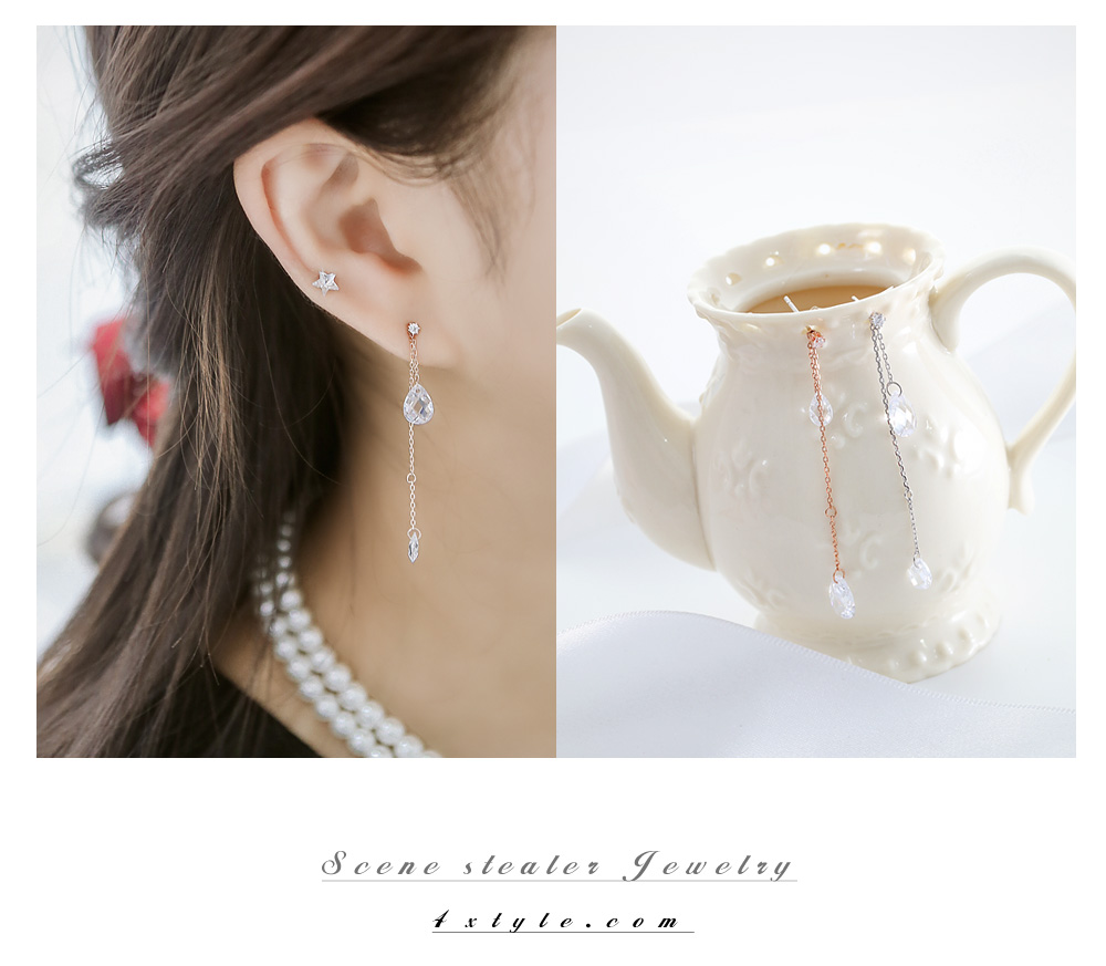 [ 4xtyle ] 上下泪水晶纯银手链、2个颜色