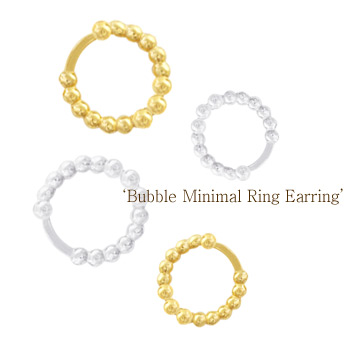 [ 4xtyle ] [SILVER] BUBBLE MINIMALING EARRING (SMALL WHITE)