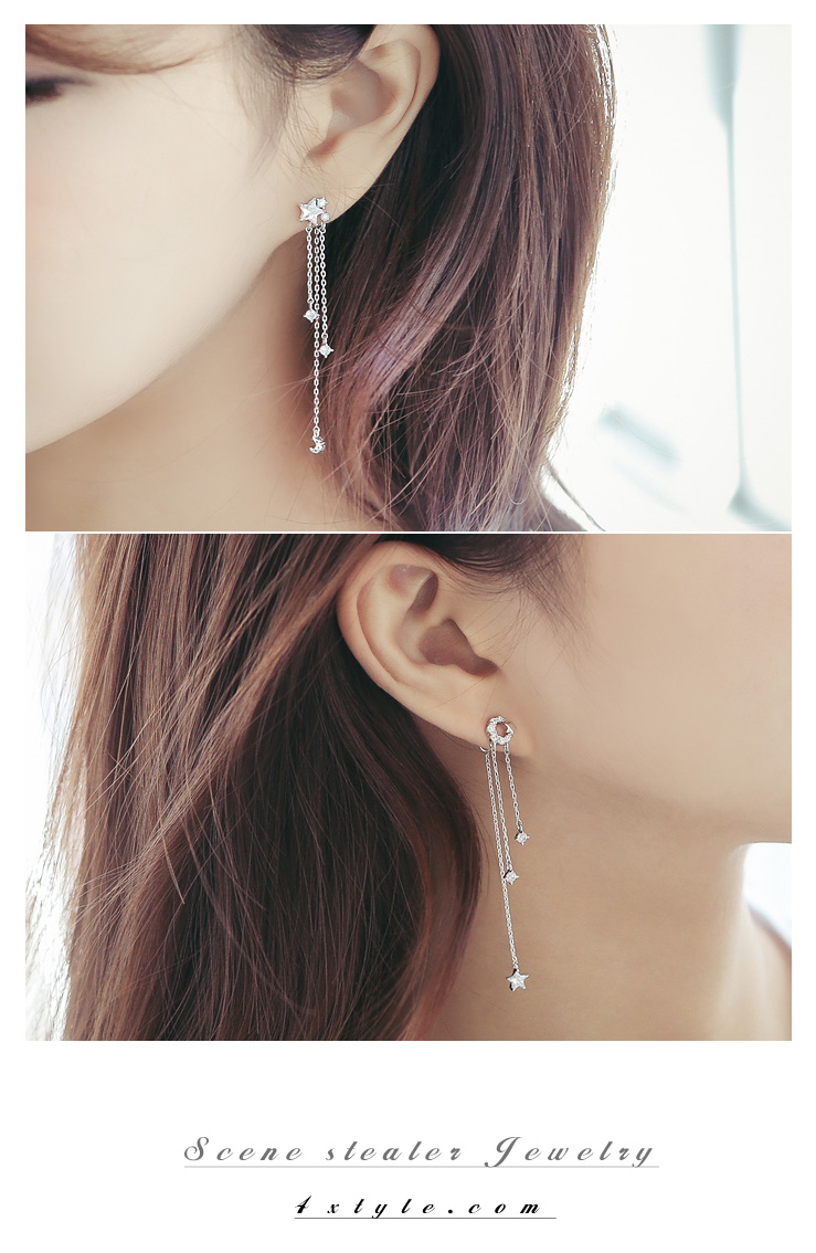 [ 4xtyle ] Starmoon Unbal Long Earring, 3 Colors