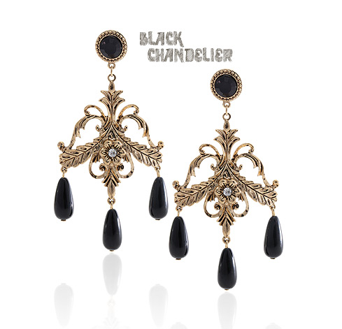 [ 4xtyle ] Black Chandelier Earring, One Color