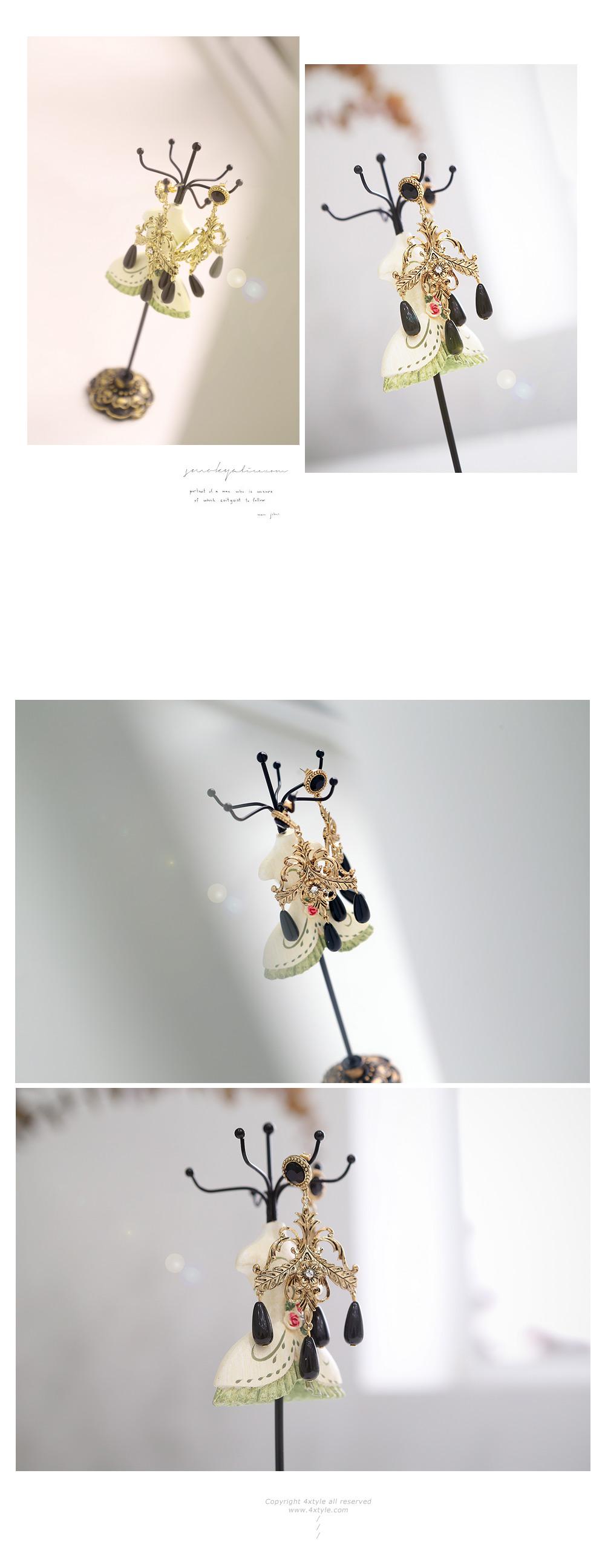 [ 4xtyle ] 黑色的枝形吊灯耳环、一种颜色