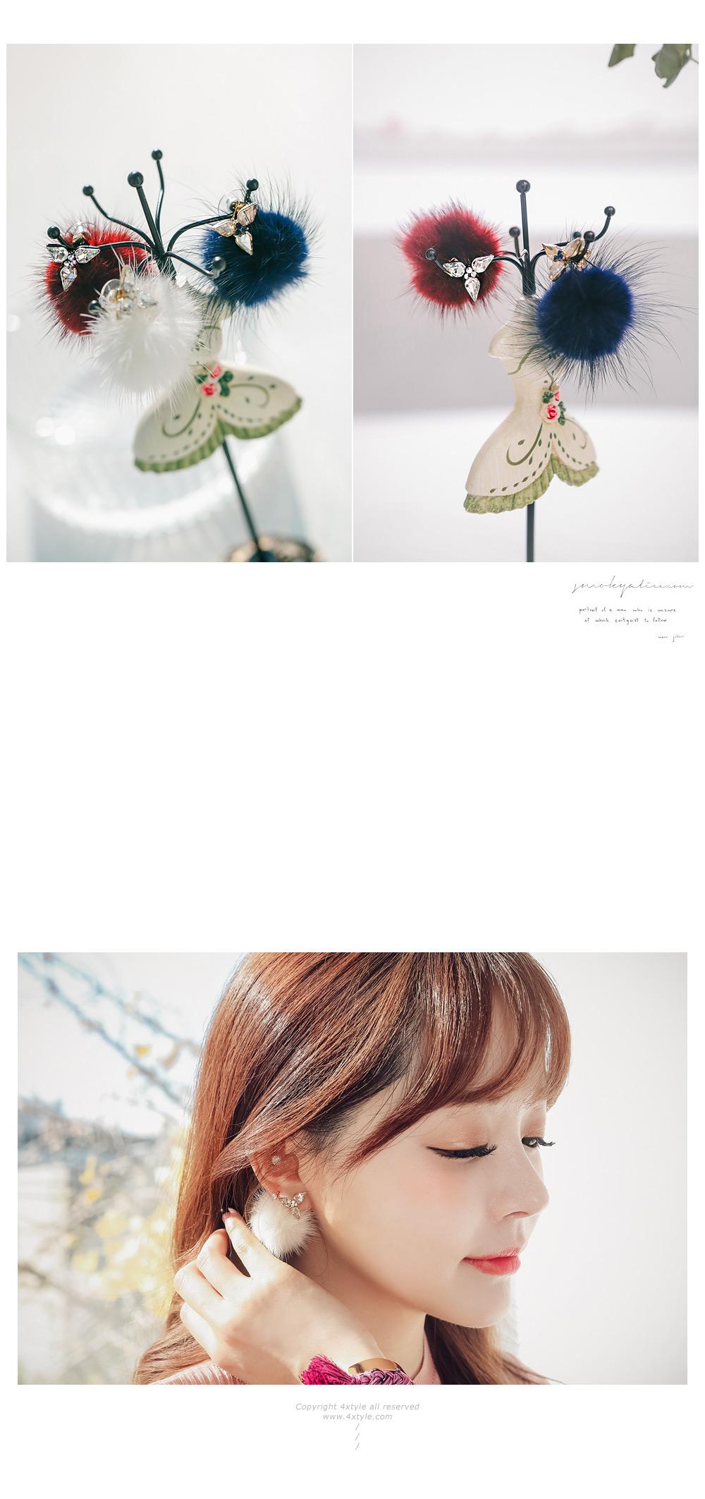 [ 4xtyle ] Adaline貂皮耳环、6种颜色