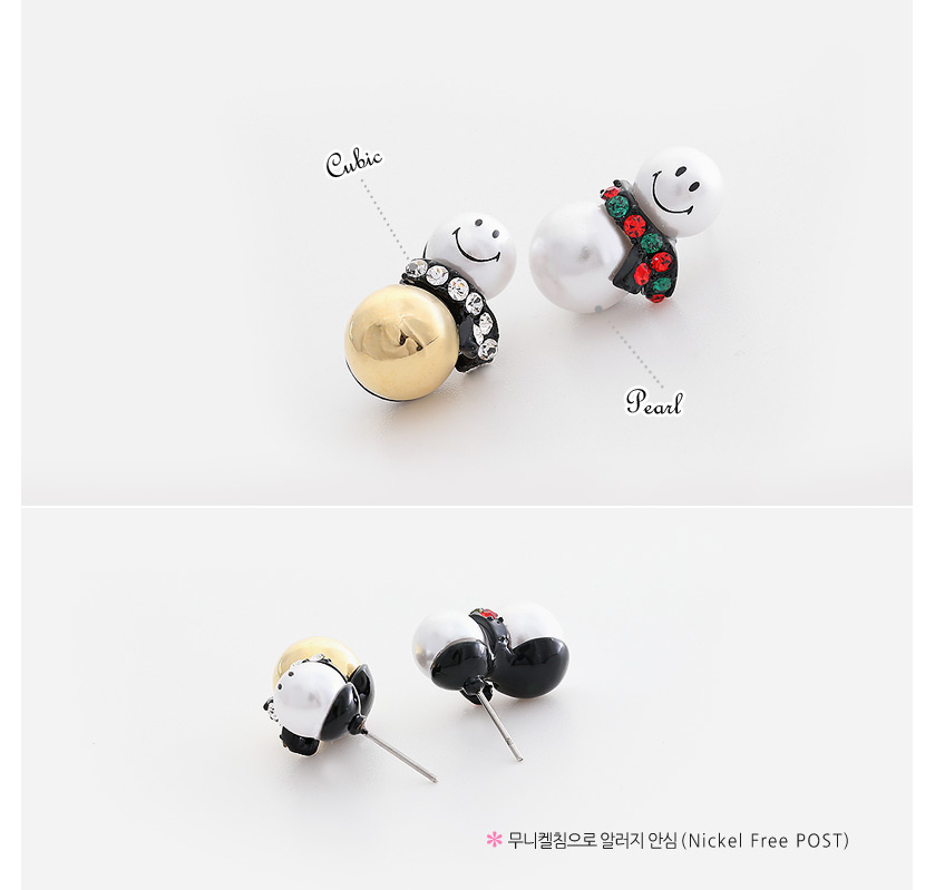 [ 4xtyle ] Smile Snowman Earring, 2 Colors