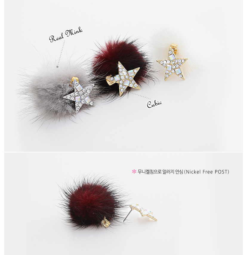 [ 4xtyle ] Star And Mink Earring, 4 Colors