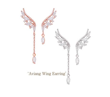[ 4xtyle ] [SILVER] AVIEN WING EARRING (WHITEGOLD)