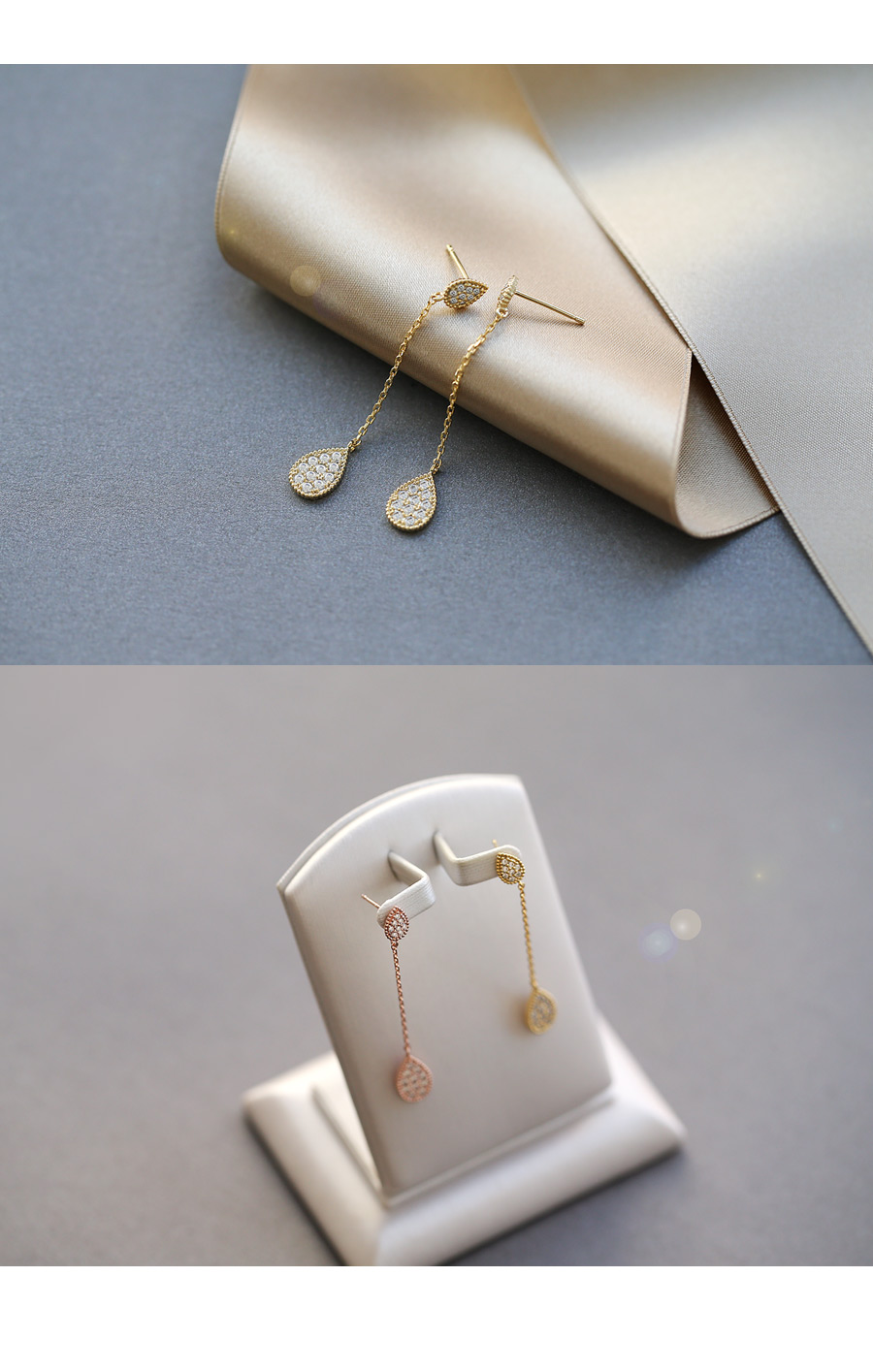 [ 4xtyle ] [SILVER] FALL IN TEAR EARRING (WHITEGOLD)