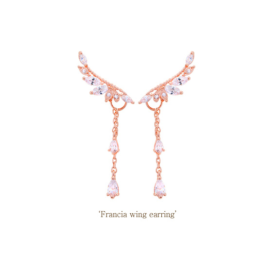 [ 4xtyle ] [SILVER] FRANCIA WING EARRING (ROSEGOLD)