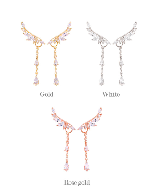 [ 4xtyle ] [SILVER] FRANCIA WING EARRING (WHITEGOLD)
