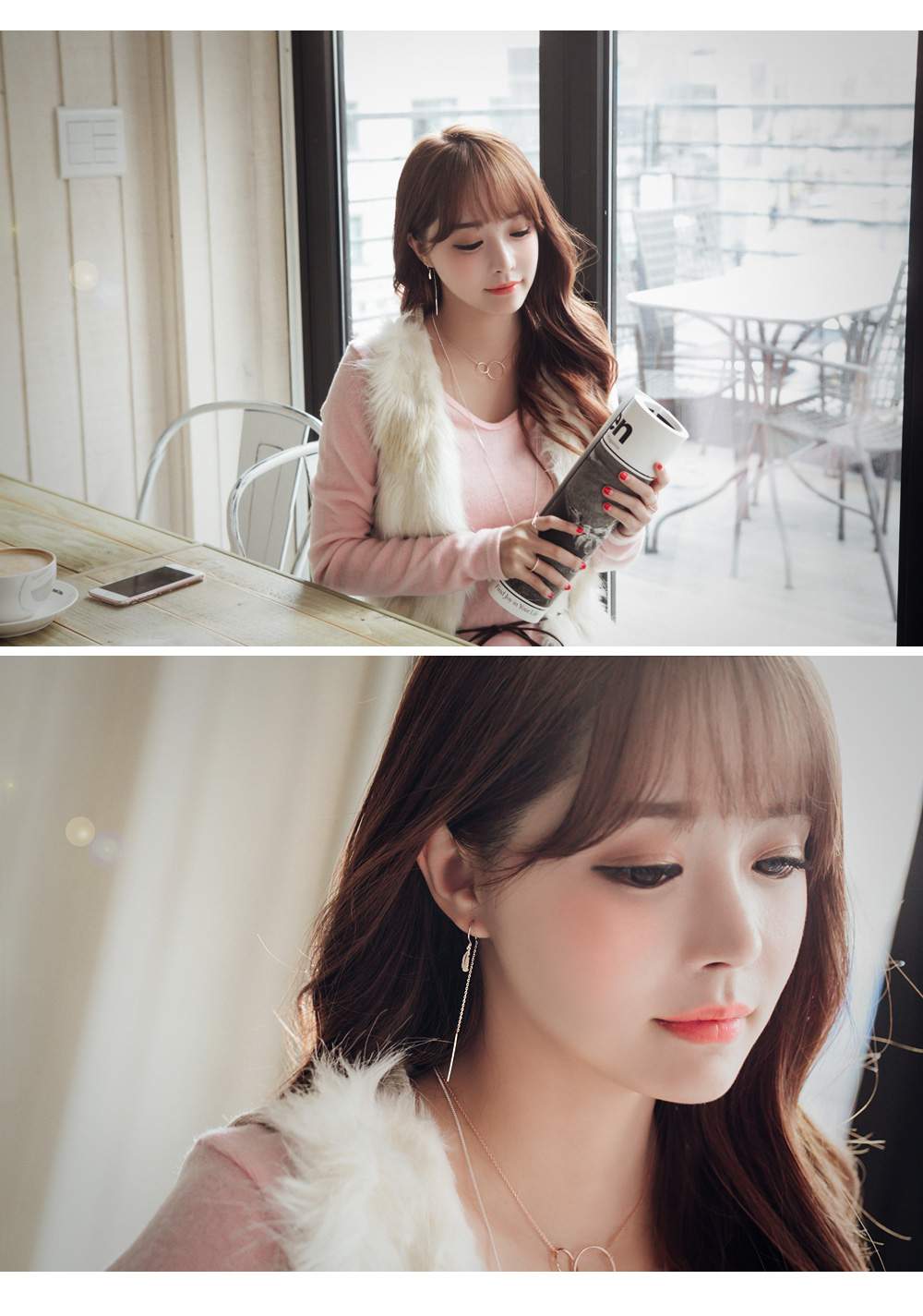 [ 4xtyle ] [SILVER] LEAF HOLIC LONG EARRING (10MM)
