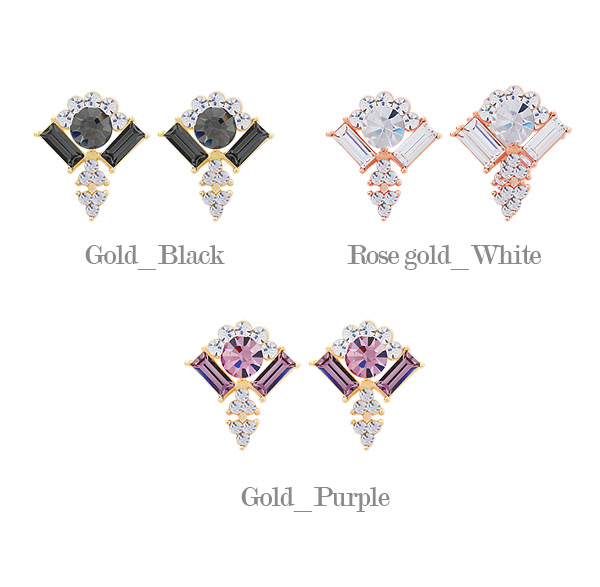 [ 4xtyle ] Miranda Crystal Earring, 3 Colors