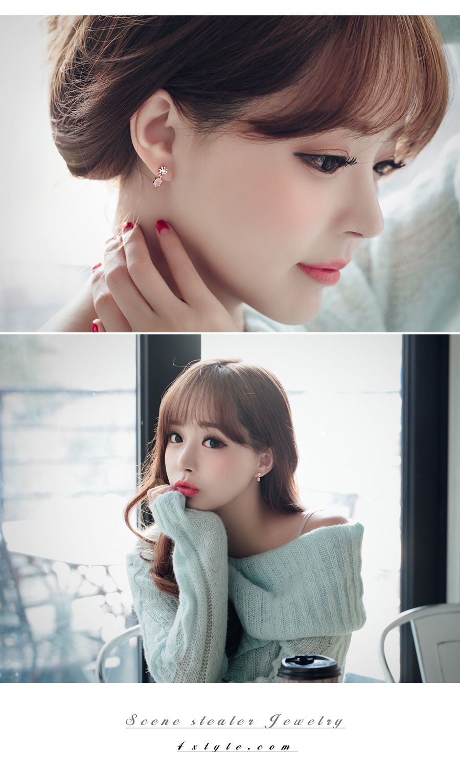 [ 4xtyle ] Snowflower Day Earring, 2 Colors