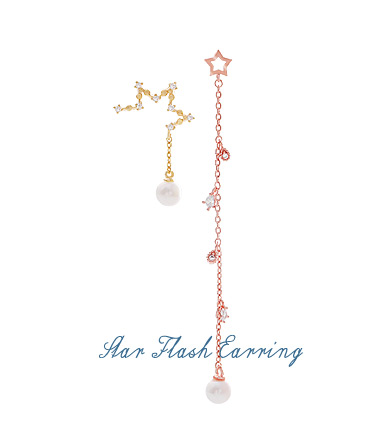 [ 4xtyle ] [SILVER] STAR FLASH EARRING (WHITEGOLD)