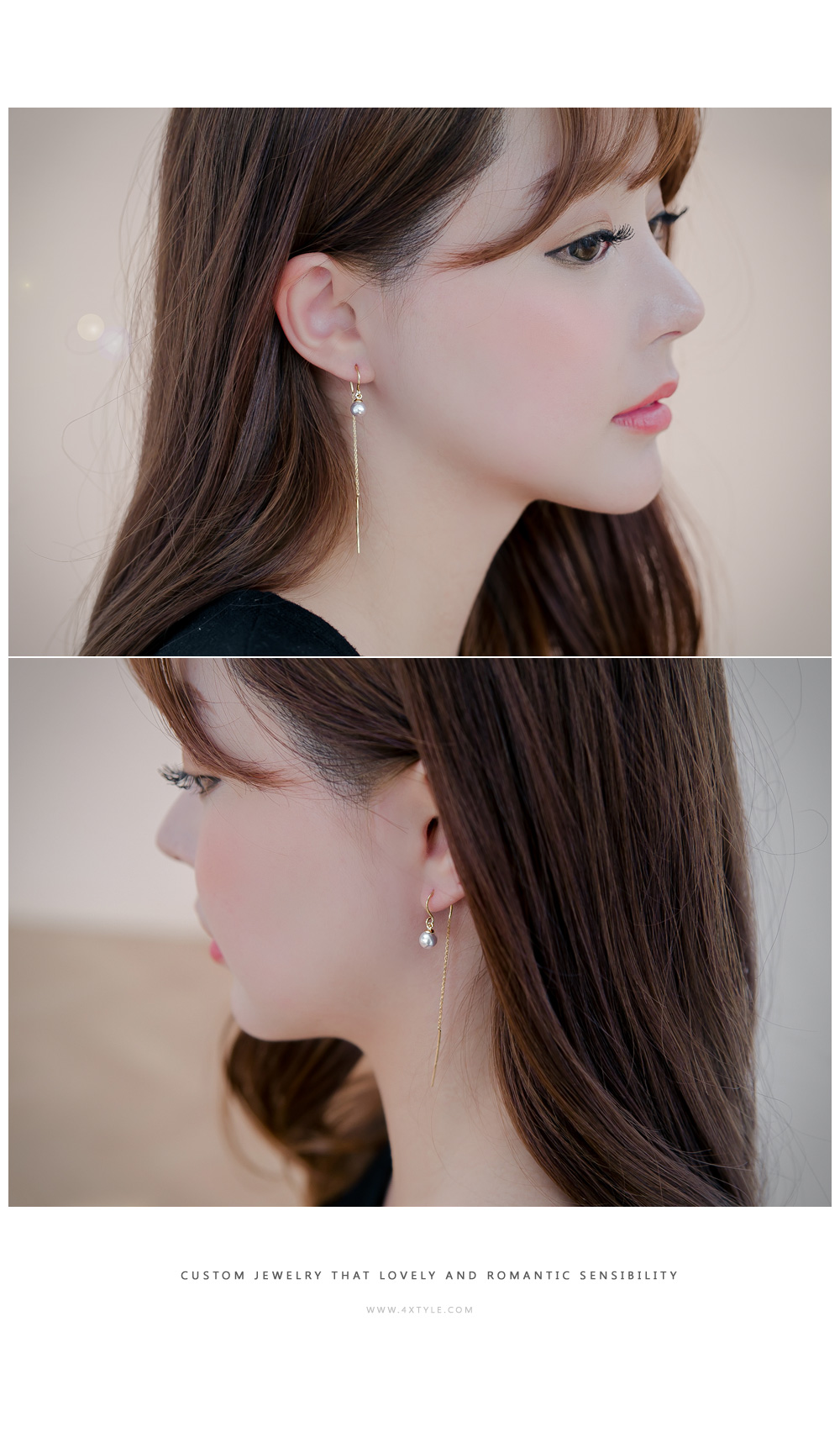 [ 4xtyle ] [SILVER] WAND PEARL EARRING(GOLD/ROSEGOLD)