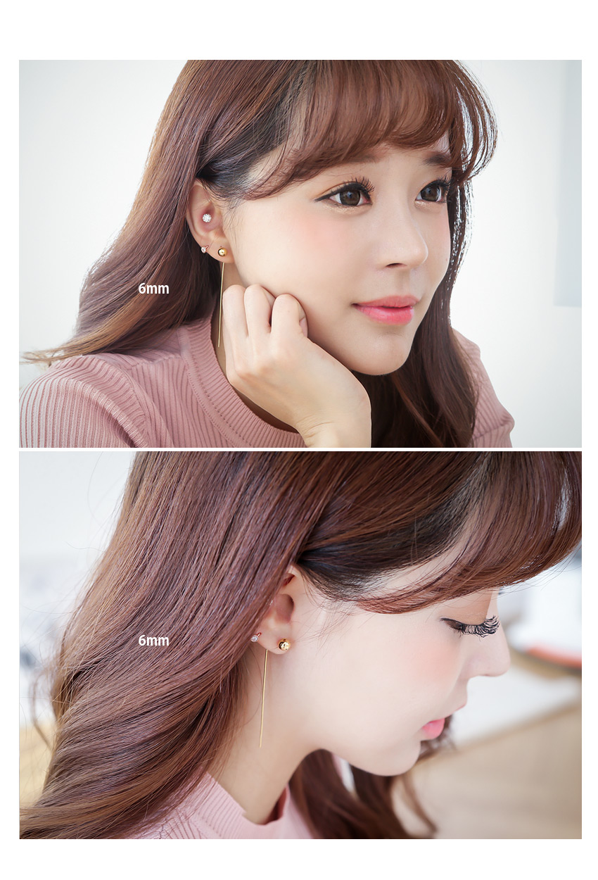 [ 4xtyle ] [SILVER] BALL STICK EARRING (6MM GOLD/ROSEGOLD)