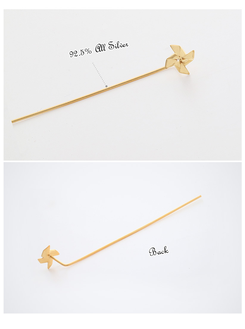 [ 4xtyle ] [SILVER] PINWHEEL STICK EARRING (GOLD/ROSEGOLD)