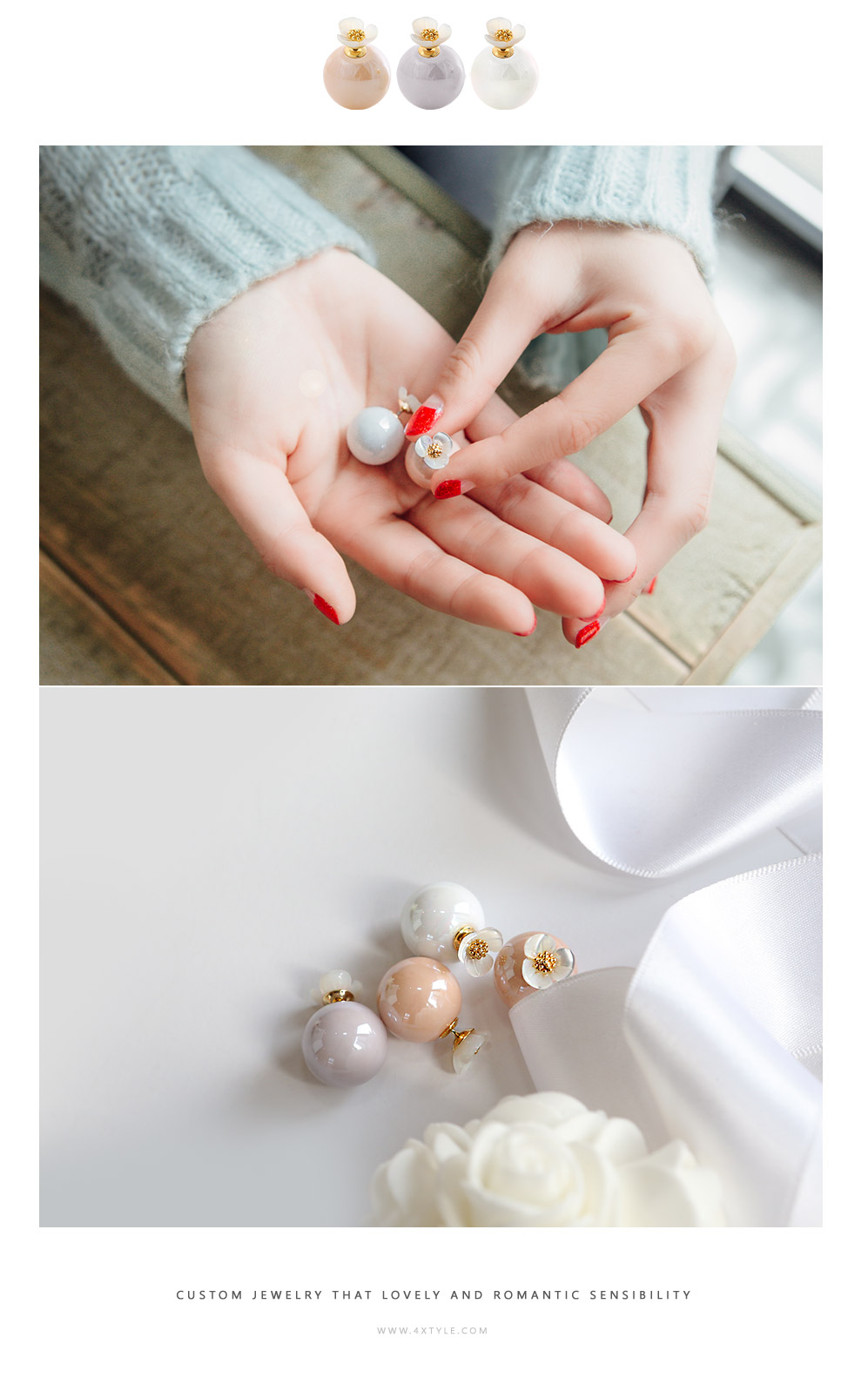 [ 4xtyle ] Pure Pearl Earring, 3 Colors