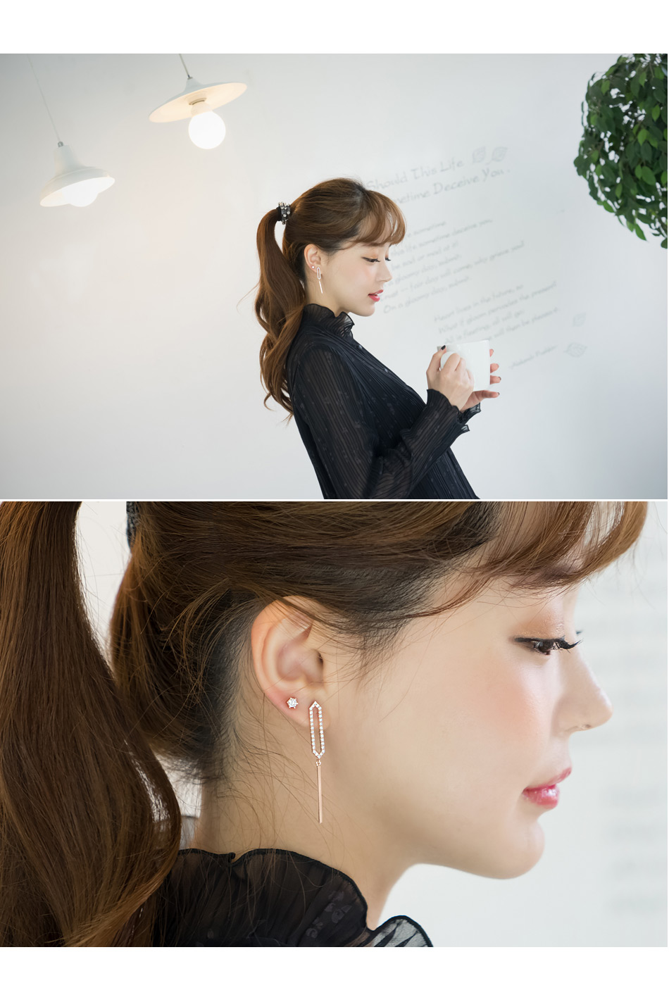 [ 4xtyle ] [SILVER] ROTICA UNBALANCED DROP EARRING(WHITEGOLD)