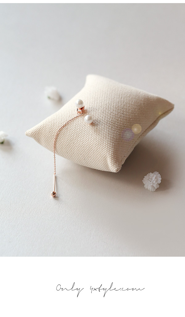 [ 4xtyle ] [SILVER] MILKY PEARL UNBALANCED EARRING(ROSEGOLD)