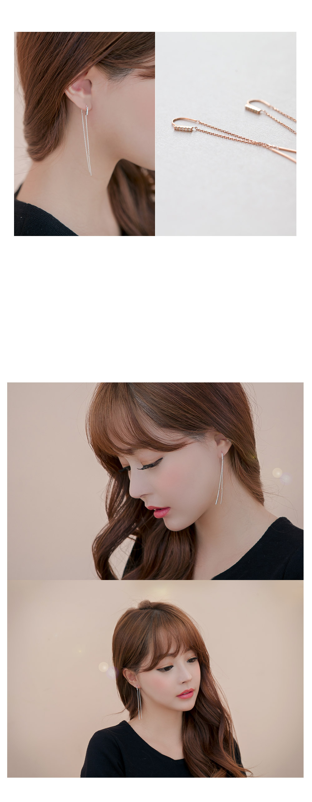 [ 4xtyle ] [SILVER] MUSE LONG EARRING(WHITE)
