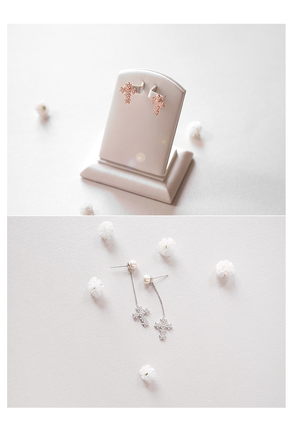 [ 4xtyle ] [SILVER] PURE CROSS EARRING(SHORT)