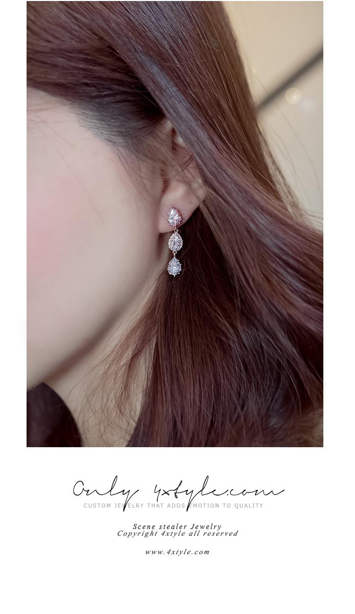 [ 4xtyle ] [SILVER] SHERBET CUBIC EARRING(WHITEGOLD)