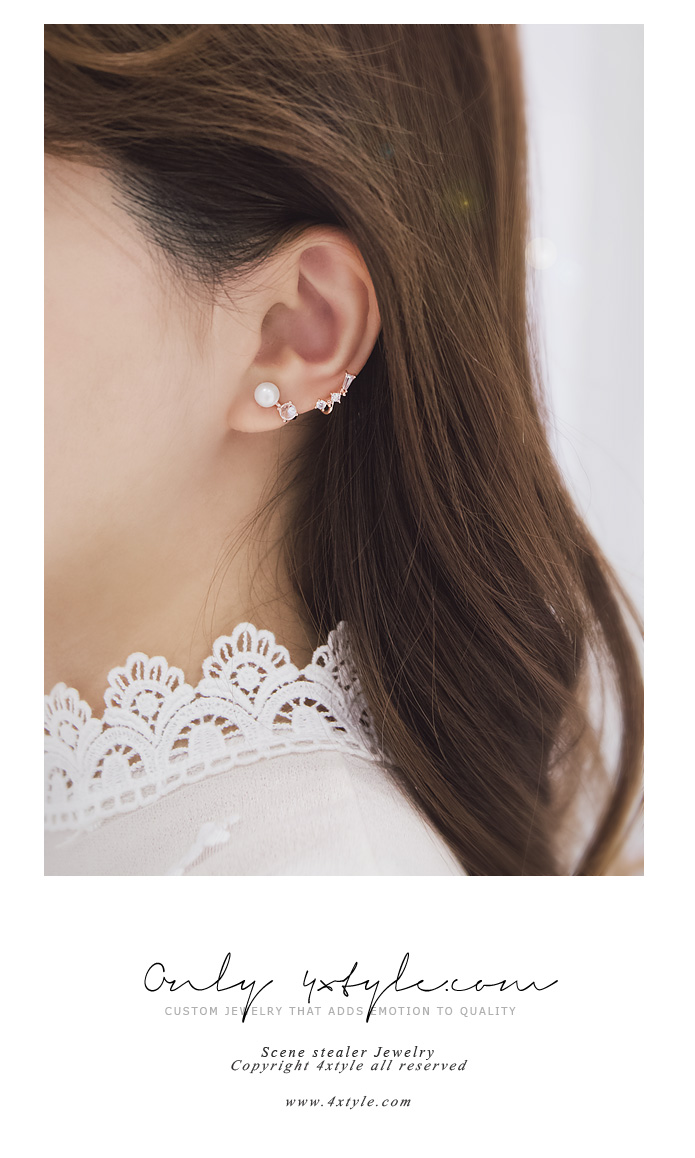 [ 4xtyle ] [SILVER] STAR RIME CUBIC EARRING