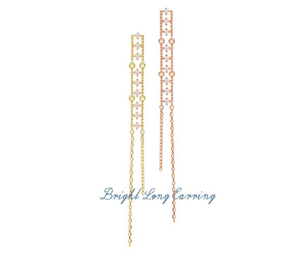 [ 4xtyle ] [银] BRIGNT 耳环长款 ROSEGOLD)