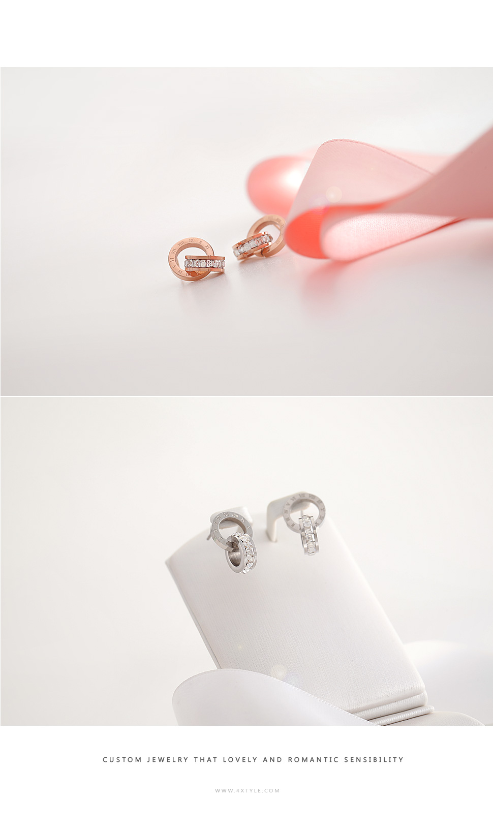 [ 4xtyle ] [STAINLESS STEEL] CLASSY EARRING(ROSEGOLD)