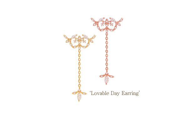 [ 4xtyle ] [SILVER] LOVABLE DAY EARRING(WHITEGOLD)