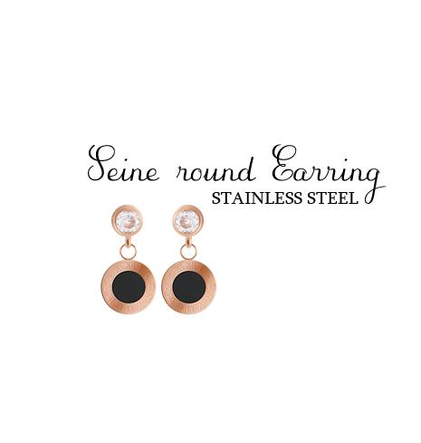 [ 4xtyle ] [STAINLESS STEEL] SENE ROUND EARRING