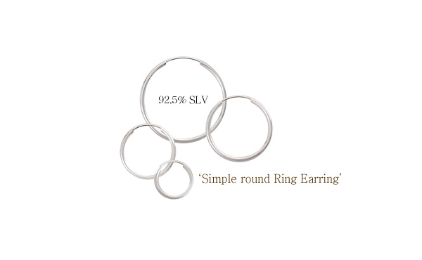 [ 4xtyle ] [SILVER] SIMPLE ROUND RING EARRING(20MM)