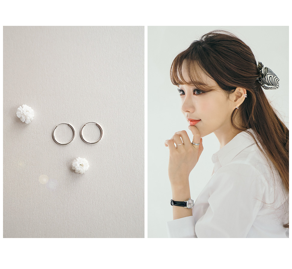 [ 4xtyle ] [SILVER] SIMPLE ROUND RING EARRING(17MM)