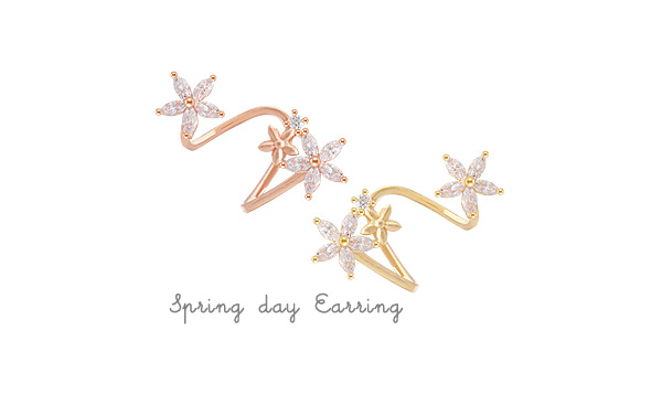 [ 4xtyle ] [SILVER] SPRING DAY CUBIC EARRING(WHITEGOLD)