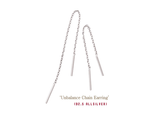 [ 4xtyle ] [SILVER] UNBALANCE CHAIN EARRING