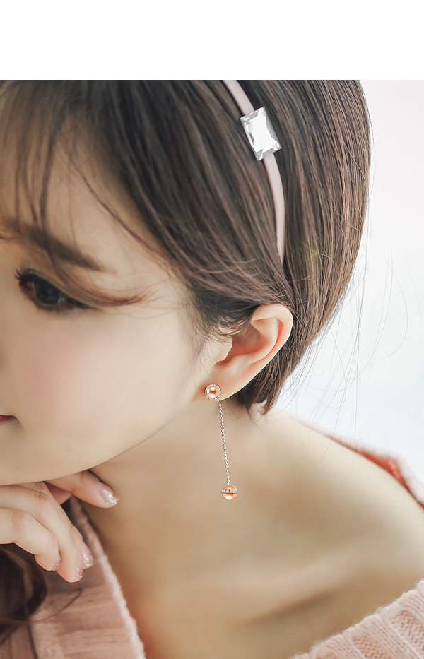 [ 4xtyle ] [SILVER] UNBALANCE BALL DROP EARRING(WHITEGOLD)