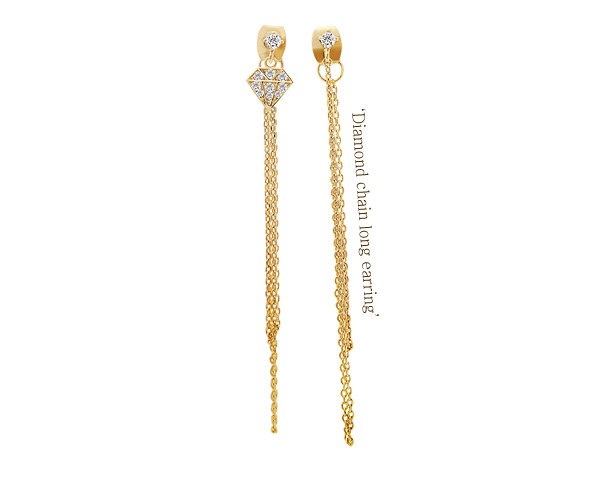 [ 4xtyle ] [SILVER] DIAMOND CHAIN LONG EARRING(WHITEGOLD)