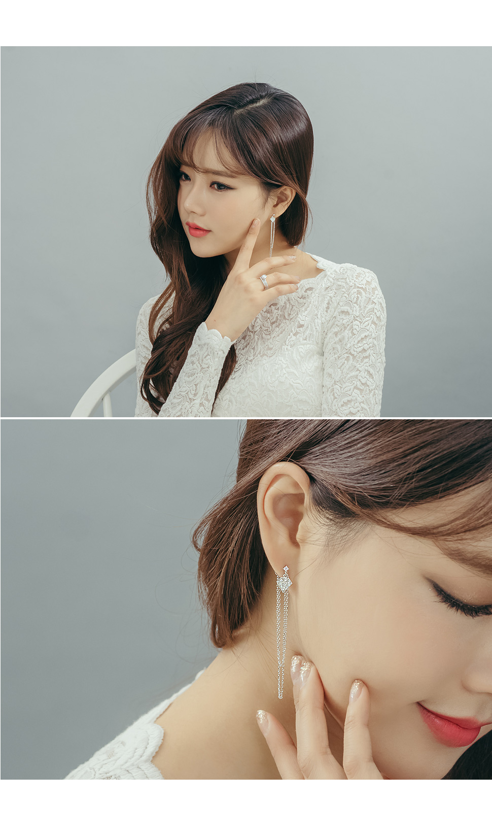 [ 4xtyle ] [SILVER] DIAMOND CHAIN LONG EARRING(ROSEGOLD)